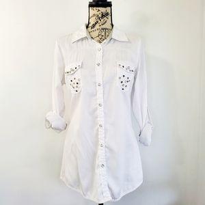 Roar White Embellished Button Down Shirt